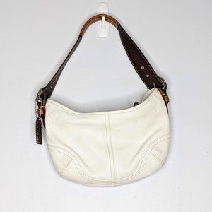 Coach White Brown Leather Small Hobo Bag M051-9541